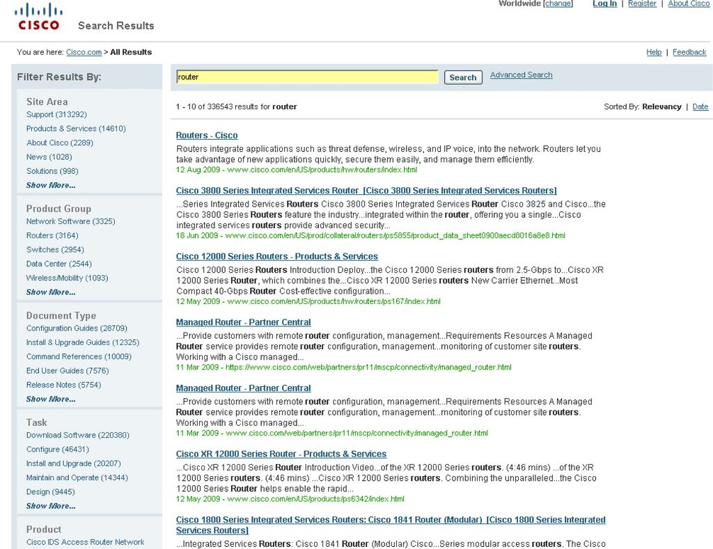 Faceted browsing on Cisco site